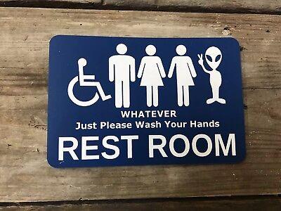 BATHROOM Plastic Sign For Door Window Wall Entrance Funny Handicap Unisex (Funny Plastic Sign)