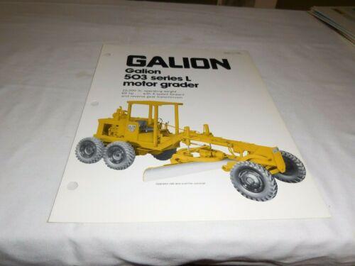 "1982 GALION MODEL 503 SERIES ""L"" MOTOR GRADER SALES BROCHURE"