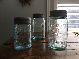 3 Vintage Crown Jars- Unique