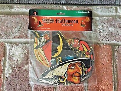 4 Retro HALLOWEEN Decorations Die Cut Cutouts Vintage Beistle 1933 Reproduction](Reproduction Vintage Halloween Decorations)