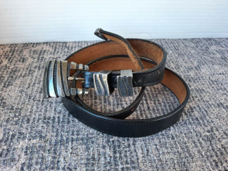 JM Sterling Silver Buckle Leather Belt Size 34 HEAVY 4 pc Set