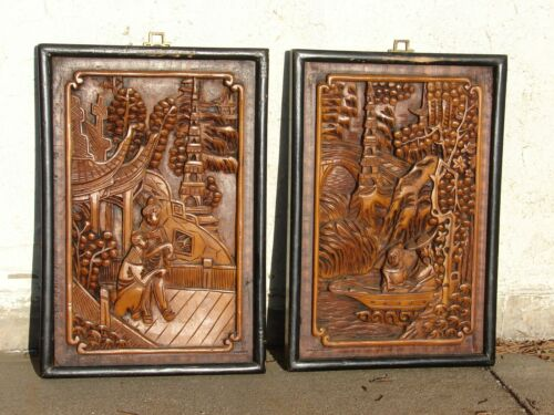 Antique JAPANESE Hand Carved WOOD Wall Panel Art ASIAN Figures Oriental VTG