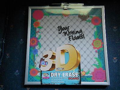 (Azuna Dry Erase Board Owls Flowers Silver Frame 3D 11 1/2 x 11 1/2 Square)