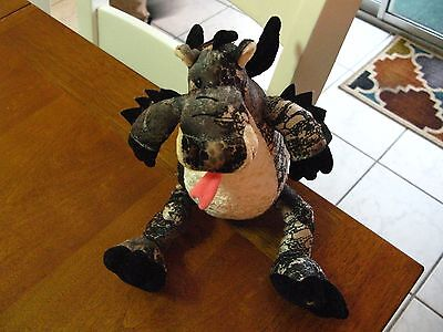 Mgic  Dragon  Limited Edition Of 8000 Plush 10  Winged Black Gray Tan Singe