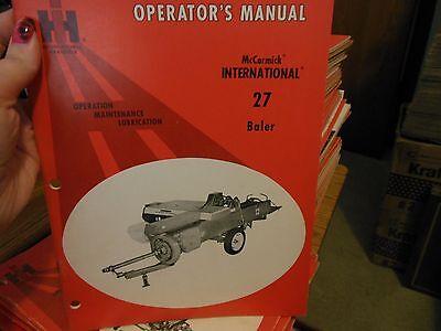 Original Mccormick International 27 Baler Operators Owners Manual New