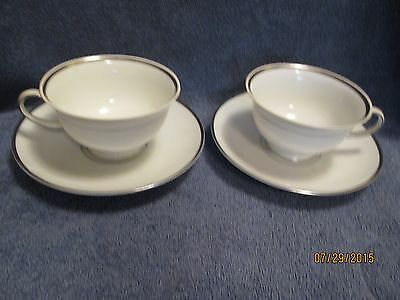 Rosenthal  Continental  White Cup and Saucer Platinum Trim 2 sets Germany NICE