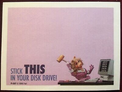 Vintage 90s Miss Piggy Stick This ... Disk Drive Post-it Note Pad Computer Funny