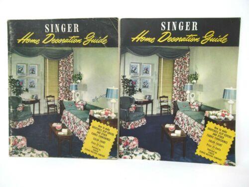 Vtg SINGER Sewing Home Decoration Guide 1947 Paperback Booklets 2 Copies