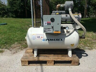 1.5hp Powerex Vacuum Compressor 60 Gallon Horizontal Tank
