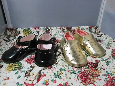 2 pr. Baby Girl Shoes - 3-6 mo. Gold slippers & Black Patent Leather Mary Janes Baby Patent Leather Shoes