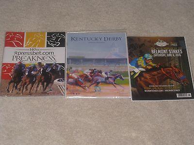 2015 Preakness,2015 Belmont and 2015 Kentucky Derby Programs (American Pharoah)