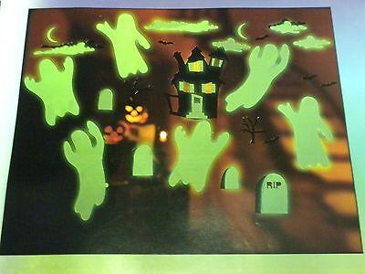 Halloween Fall Decoration Window Clings Glow N Dark Boooooville Ghosts 7