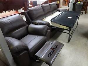 BRAND NEW LOUNGE LEATHER SOFA BED AND ONE RECLINER. $1995 60%OFF Ipswich Region Preview