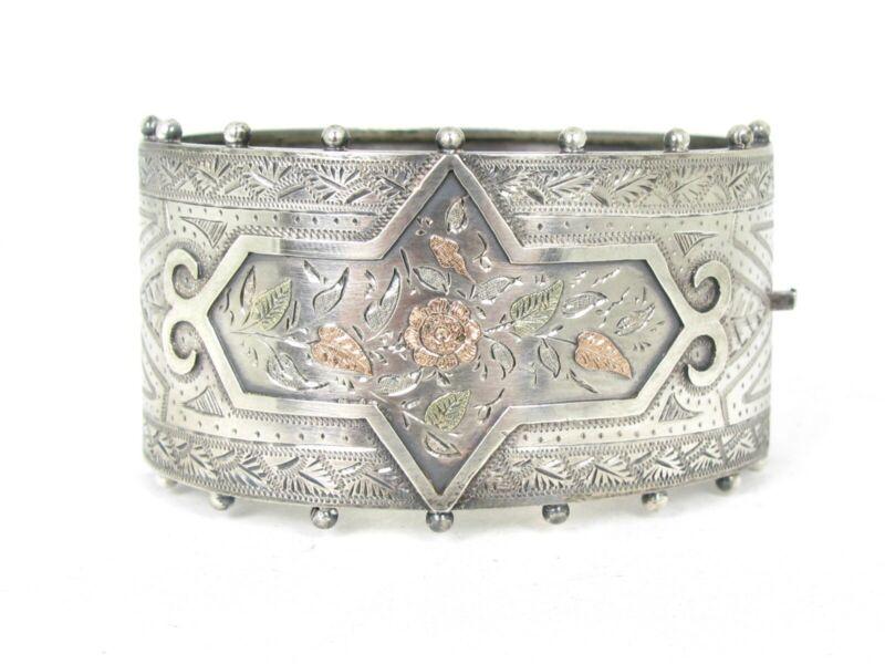 Antique 1860s Victorian Gold Filled & Sterling Hinged Bangle Bracelet 38g B35