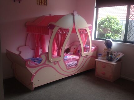 GIRL'S PRINCESS CARRIAGE BED, MATTRESS, DUCHESS, SIDE TABLE