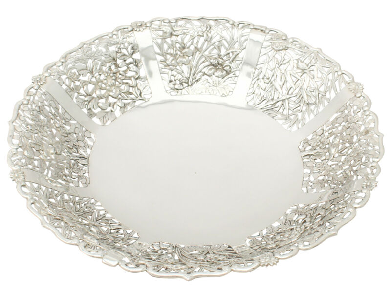 Chinese Export Silver Fruit Dish Antique Circa 1880