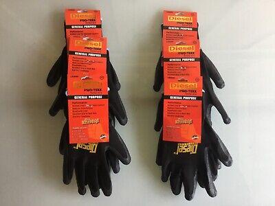 6 Pairs Black Diesel Pro-tekk Latex Grip General Purpose Work Gloves S M L Xl