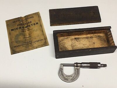 Vintage Brown Sharpe Mfg Co No. 13 Micrometer 0-1 Dovetailed Box Papers