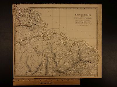 1844 BEAUTIFUL Huge Color MAP of South America Brazil French Guyana ATLAS