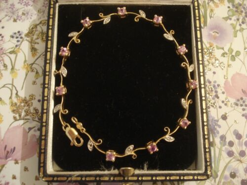 Exquisite,Finely Crafted 14ct Gold: Pink Sapphire Gems & Diamonds Set Bracelet