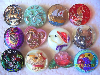 "REDUCED CZECH GLASS BUTTONS (12 pcs)7/8""- 22mm  US COLLECTORS DREAM *001"