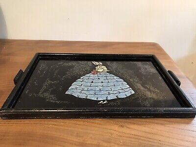 Vintage Art Deco Crinoline Lady Foil Glazed Wooden Tray