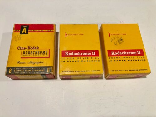 Lot of Three (3) KODACHROME Color Kodak 8mm Movie Film Magazines - 25'