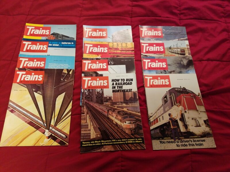 Lot of 12, entire year 1974 Trains Magazine Of Railroading, vintage