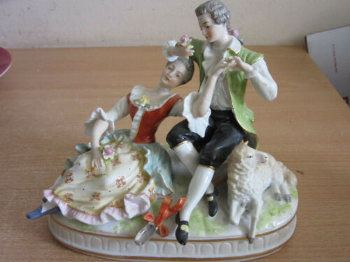 Antique 19thC German Sitzendorf porcelain figure Courting Man, woman couple lamb