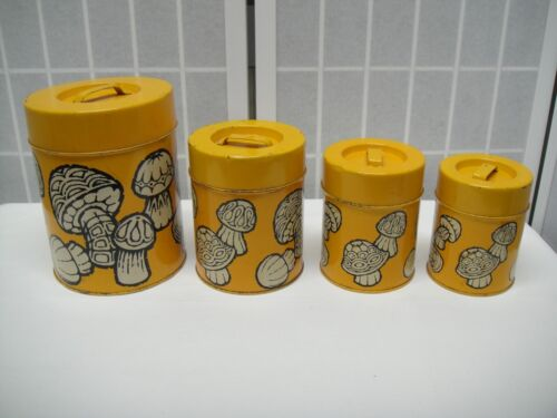 Deep Yellow Mushroom Canister Set, 4 pcs., Nevco