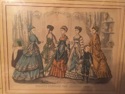 ANTIQUE 1860s-70s  Hand Colored Engraving Godey's Fashions For January  1869