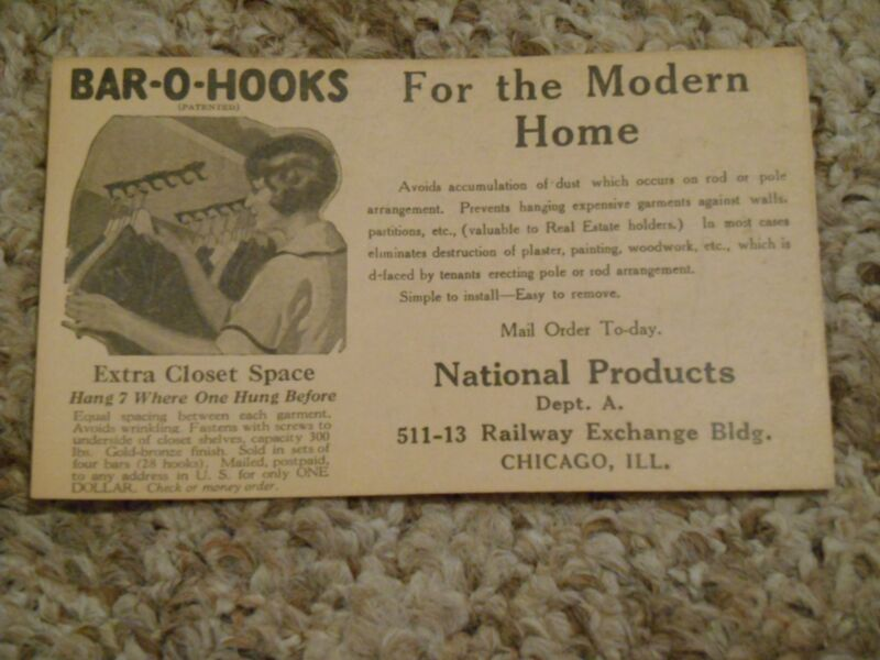Old Vintage Adv. Postcard Bar-O-Hooks Modern Home National Products Chicago  IL