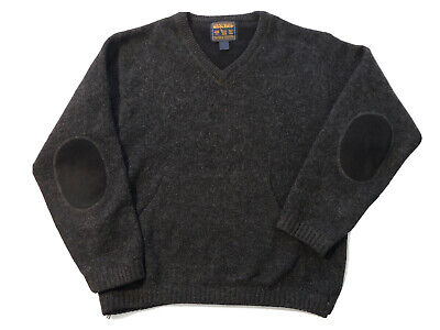 Woolrich Wool Sweater V-Neck Pullover Men's XL? Elbow Patches Pocket Charcoal
