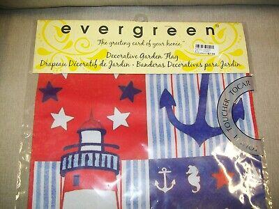 """evergreen,.  Flag 18"""" x 12.5""""  """"RWB Nautical  """"  Suede Flag"""