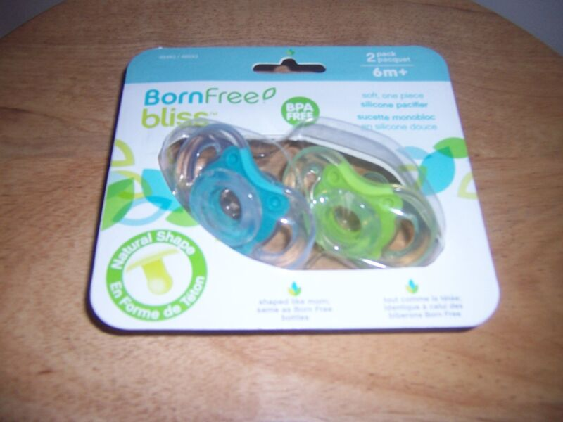 Born FREE   Bliss 0-6 months  blue green pacifiers shaped like mom
