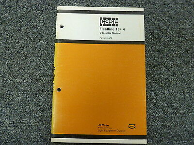 Case Fleetline 164 Trencher Backhoe Owner Operator Maintenance Manual 9-6572