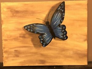 2 butterfly canvas paintings