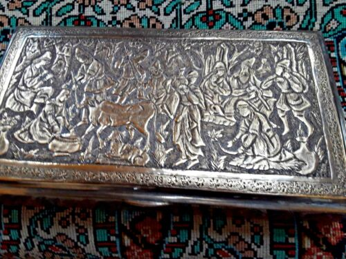 FASCINATING  LARGE PERSIAN ANTIQUE  QAJAR VANITY CIGARETTE SILVER BOX
