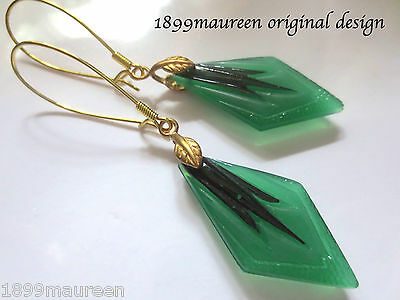 Art Deco Art Nouveau earrings vintage geometric green black glass drops long