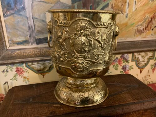 Lovely English Victorian Brass Armorial Planter Container Circa 1890