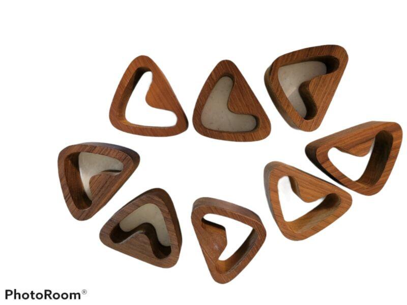 Set of 8 Mid Century Modern Vintage Teak Wood Triangle Napkin Rings Holders MCM
