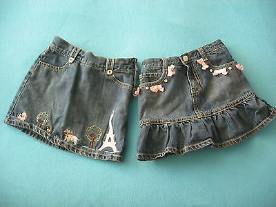 Gymboree Girls Denim Skorts Lot of 2 Pink Bow Dog Eiffel Tower Great Condition 6