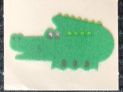 """Fuzzy Alligator - 1 VINTAGE 80'S FUZZY HAPPY ALLIGATOR   STICKER """"1x1 GORGEOUS IN PERSON"""