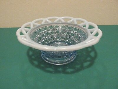 VINTAGE IMPERIAL OPALESCENT BOWL---BUTTON AND CANE  WITH KATY LACED EDGE
