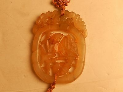 Vintage Chinese Carved Translucent White Jade Bird Pendant Silk Tassel Necklace
