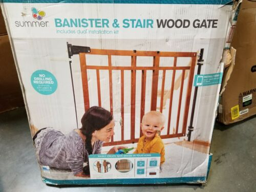 """Summer Banister & Stair Safety Baby Gate 48"""" Wide 33"""" Tall Cherry Wood"""