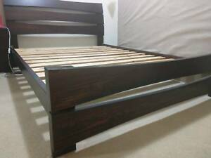 Solid timber Queen Bed frame and 2 matching side drawers