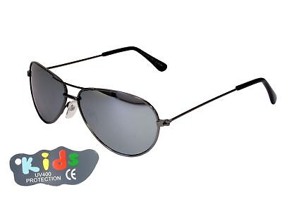 Kids Small Aviator Sunglasses 115mm Wide Mirror Lenses Gun Metal Frame