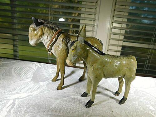 Putz Donkeys Grey Stick Leg Mules Breeding Pair Christmas Nativity Germany