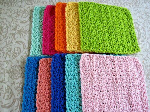 "10 Crochet  Dishcloths / Washcloths 100% Cotton - Handmade - 6 ""- # 9-4"